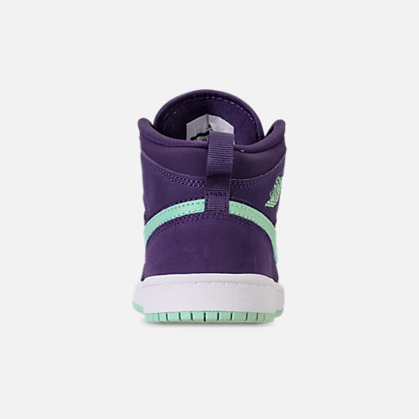 Back view of Girls' Little Kids' Air Jordan 1 Mid Casual Shoes in Ink/Emerald Rise/White
