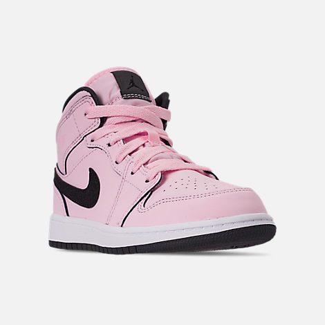 910d8e96631 Three Quarter view of Girls  Little Kids  Air Jordan 1 Mid Casual Shoes in