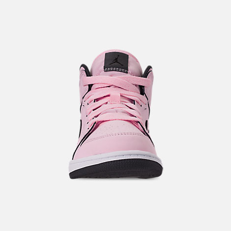 08b04d4e5497 Front view of Girls  Little Kids  Air Jordan 1 Mid Casual Shoes in Pink