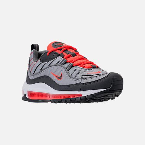 Three Quarter view of Men's Nike Air Max 98 Running Shoes in Wolf Grey/Dark