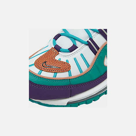 Front view of Men's Nike Air Max 98 Casual Shoes in Court Purple/Terra Blush/Spirit Teal