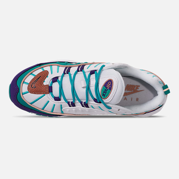 Top view of Men's Nike Air Max 98 Casual Shoes in Court Purple/Terra Blush/Spirit Teal