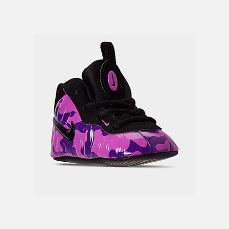 Three Quarter view of Infant Nike Lil' Posite Pro Crib Booties in Black/Court Purple/Hyper Violet