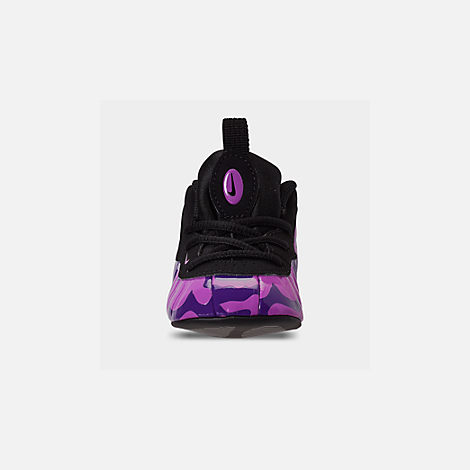 Front view of Infant Nike Lil' Posite Pro Crib Booties in Black/Court Purple/Hyper Violet