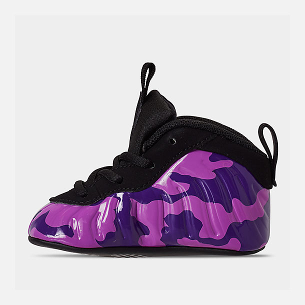 Left view of Infant Nike Lil' Posite Pro Crib Booties in Black/Court Purple/Hyper Violet