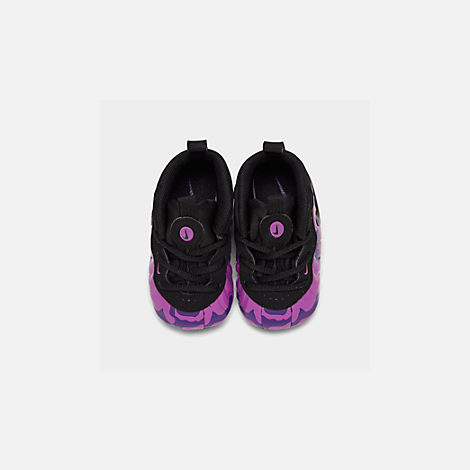 Back view of Infant Nike Lil' Posite Pro Crib Booties in Black/Court Purple/Hyper Violet
