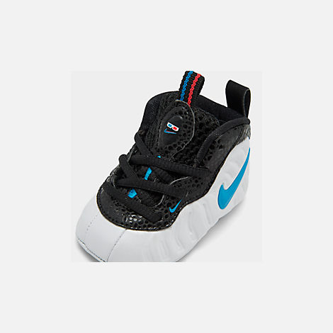 Front view of Infant Nike Lil' Posite Pro Crib Booties in White/Blue Hero/Red Orbit/Indigo Fog