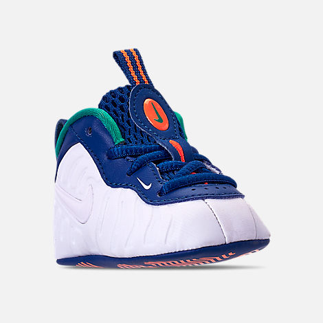 Three Quarter view of Boys' Infant Nike Lil' Posite Pro Crib Booties in Gym Blue/White/Cone/Neptune Green