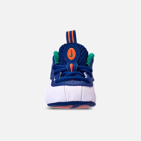 Front view of Boys' Infant Nike Lil' Posite Pro Crib Booties in Gym Blue/White/Cone/Neptune Green