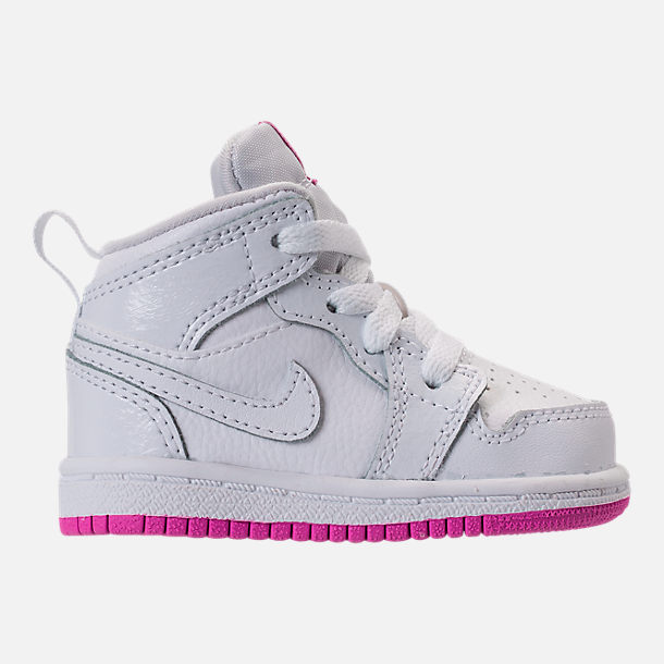 Right view of Girls' Toddler Air Jordan 1 Mid Basketball Shoes in White/Fuchsia Blast