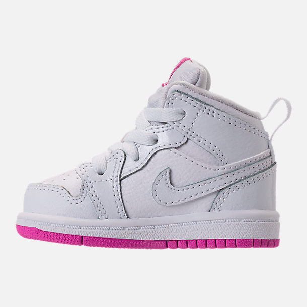 Left view of Girls' Toddler Air Jordan 1 Mid Basketball Shoes in White/Fuchsia Blast