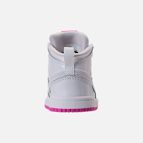 Back view of Girls' Toddler Air Jordan 1 Mid Basketball Shoes in White/Fuchsia Blast