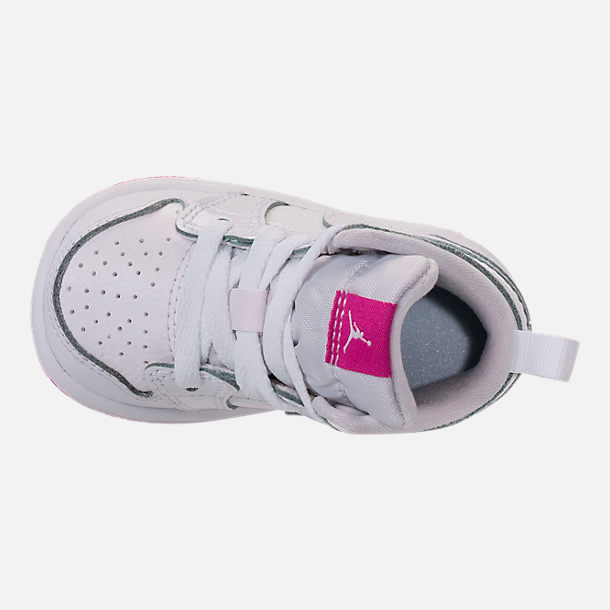 Top view of Girls' Toddler Jordan 1 Mid Basketball Shoes in White/Fuchsia Blast