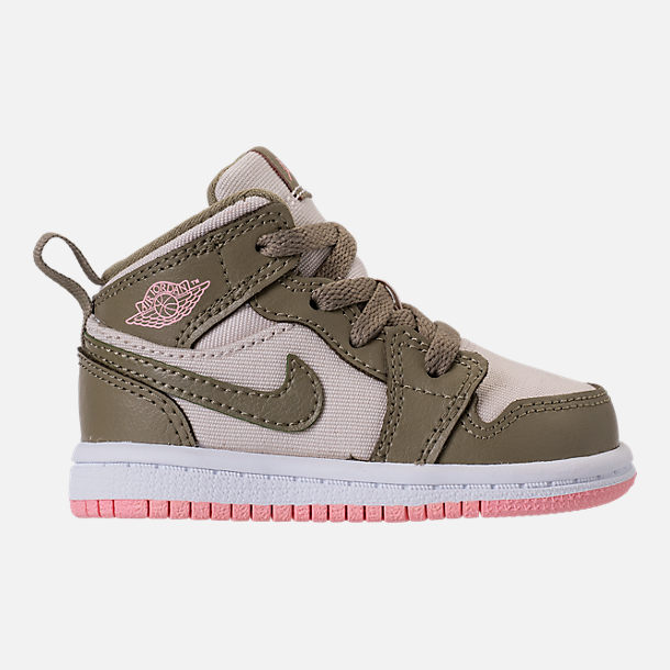 Right view of Girls' Toddler Air Jordan 1 Mid Basketball Shoes in Trooper/Bleached Coral/Light Orewood Brown