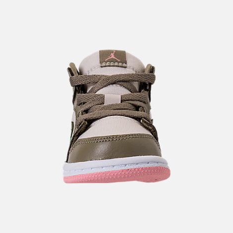 Front view of Girls' Toddler Air Jordan 1 Mid Basketball Shoes in Trooper/Bleached Coral/Light Orewood Brown