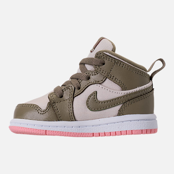 Left view of Girls' Toddler Air Jordan 1 Mid Basketball Shoes in Trooper/Bleached Coral/Light Orewood Brown