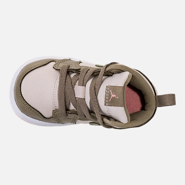 Top view of Girls' Toddler Air Jordan 1 Mid Basketball Shoes in Trooper/Bleached Coral/Light Orewood Brown