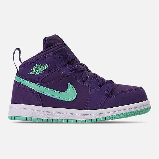 Right view of Girls' Toddler Air Jordan 1 Mid Casual Shoes in Ink/Emerald Rise/White