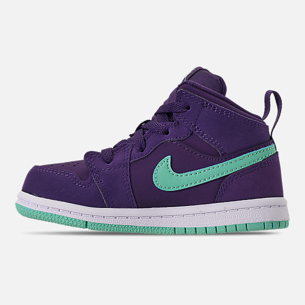 Left view of Girls' Toddler Air Jordan 1 Mid Casual Shoes in Ink/Emerald Rise/White