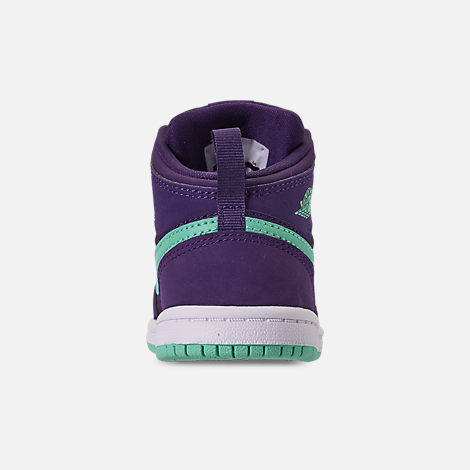 Back view of Girls' Toddler Air Jordan 1 Mid Casual Shoes in Ink/Emerald Rise/White
