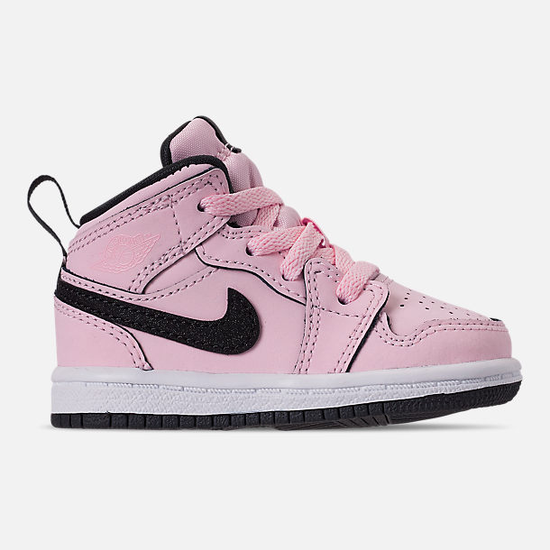 Right view of Girls' Toddler Air Jordan 1 Mid Casual Shoes in Pink Foam/Black/White/Anthracite