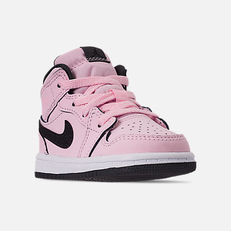 a6dd73812357c Three Quarter view of Girls  Toddler Air Jordan 1 Mid Casual Shoes in Pink  Foam