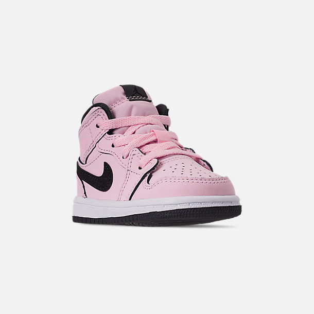 Three Quarter view of Girls' Toddler Air Jordan 1 Mid Casual Shoes in Pink Foam/Black/White/Anthracite