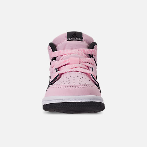 Front view of Girls' Toddler Air Jordan 1 Mid Casual Shoes in Pink Foam/Black/White/Anthracite