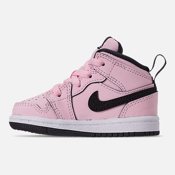 Left view of Girls' Toddler Air Jordan 1 Mid Casual Shoes in Pink Foam/Black/White/Anthracite
