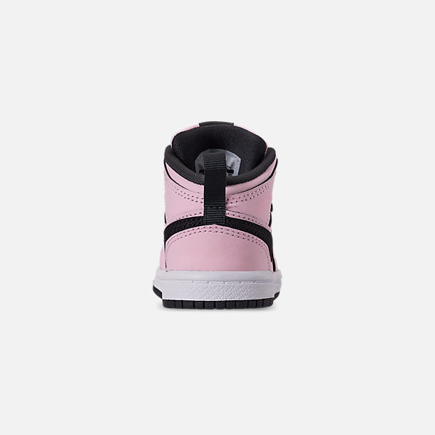 Back view of Girls' Toddler Air Jordan 1 Mid Casual Shoes in Pink Foam/Black/White/Anthracite
