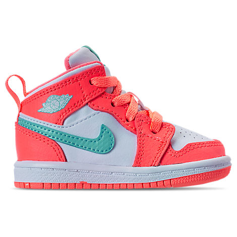 GIRLS' TODDLER AIR JORDAN 1 MID BASKETBALL SHOES, ORANGE