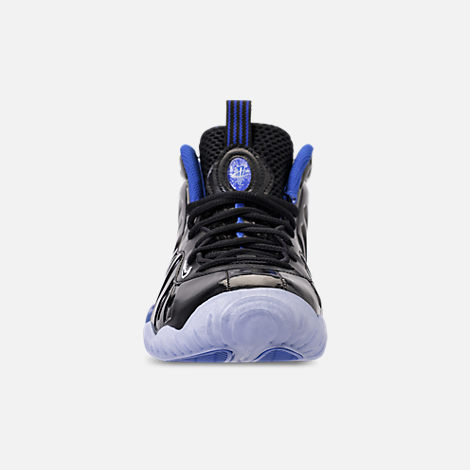 Front view of Kids' Grade School Nike Little Posite One Basketball Shoes in Black/White/Hyper Royal