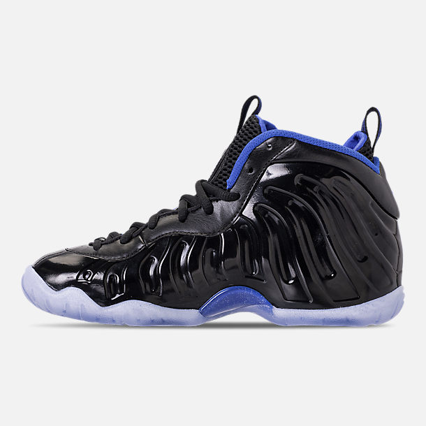 Left view of Kids' Grade School Nike Little Posite One Basketball Shoes in Black/White/Hyper Royal