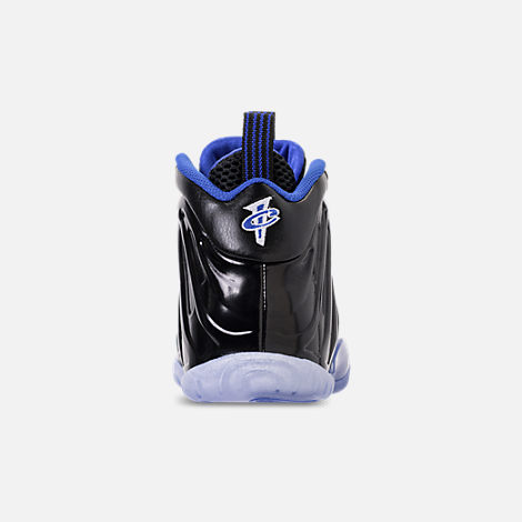 Back view of Kids' Grade School Nike Little Posite One Basketball Shoes in Black/White/Hyper Royal