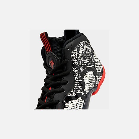 Front view of Big Kids' Nike Little Posite One Basketball Shoes in Sail/Habanero Red/Black