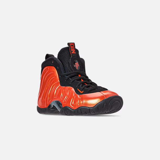 Three Quarter view of Big Kids' Nike Little Posite One Basketball Shoes in Habanero Red/Habanero Red/Black
