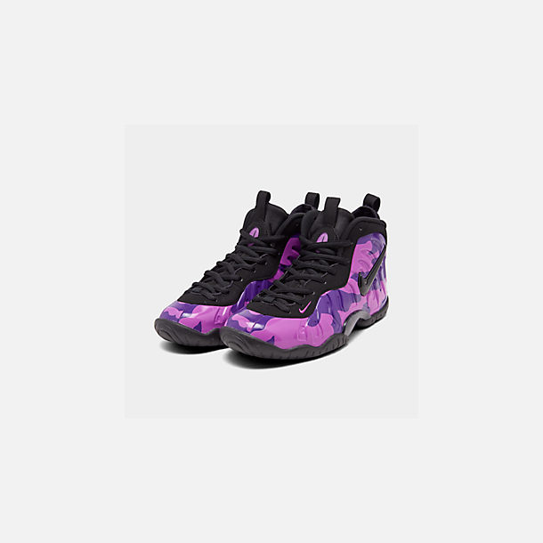 Three Quarter view of Big Kids' Nike Little Posite Pro Basketball Shoes in Black/Court Purple/Hyper Violet