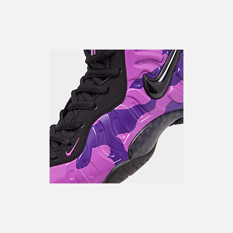 Front view of Big Kids' Nike Little Posite Pro Basketball Shoes in Black/Court Purple/Hyper Violet