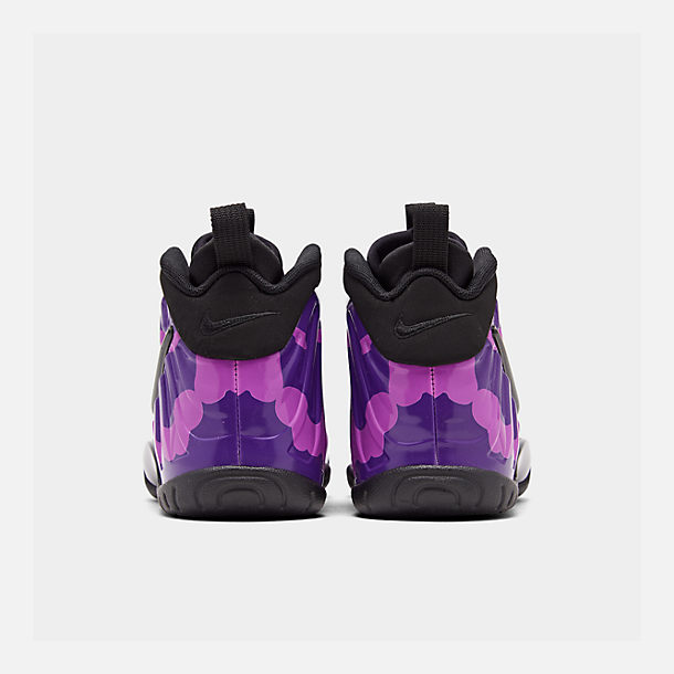 Left view of Big Kids' Nike Little Posite Pro Basketball Shoes in Black/Court Purple/Hyper Violet