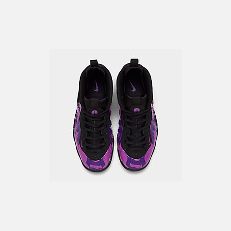 Back view of Big Kids' Nike Little Posite Pro Basketball Shoes in Black/Court Purple/Hyper Violet
