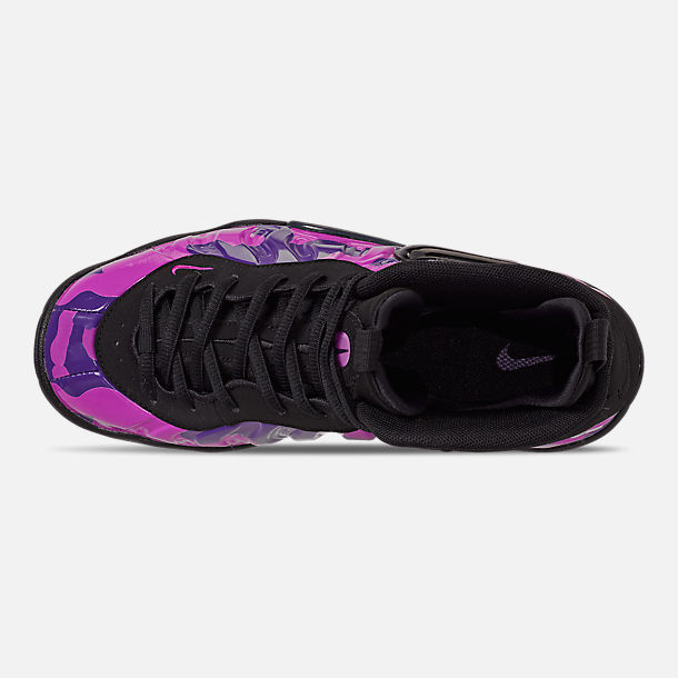 Top view of Big Kids' Nike Little Posite Pro Basketball Shoes in Black/Court Purple/Hyper Violet