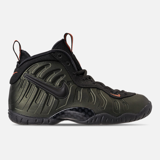Right view of Boys' Big Kids' Nike Little Posite Pro Basketball Shoes in Sequoia/Black/Team Orange