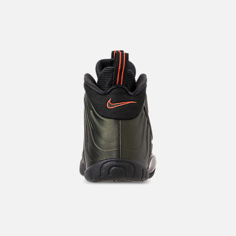 Back view of Boys' Big Kids' Nike Little Posite Pro Basketball Shoes in Sequoia/Black/Team Orange