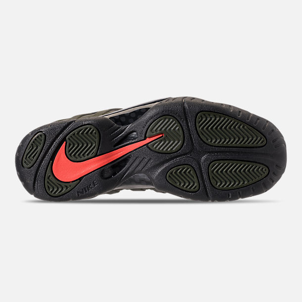 Bottom view of Boys' Big Kids' Nike Little Posite Pro Basketball Shoes in Sequoia/Black/Team Orange