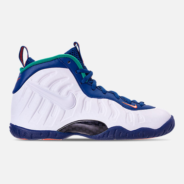 Right view of Boys' Grade School Nike Little Posite Pro Basketball Shoes in Gym Blue/White/Cone/Neptune Green