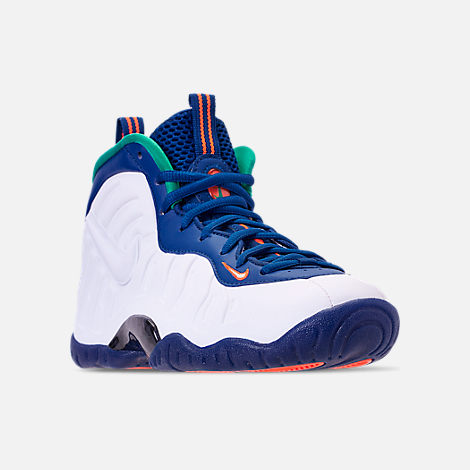 Three Quarter view of Boys' Grade School Nike Little Posite Pro Basketball Shoes in Gym Blue/White/Cone/Neptune Green