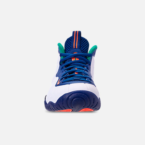 Front view of Boys' Grade School Nike Little Posite Pro Basketball Shoes in Gym Blue/White/Cone/Neptune Green