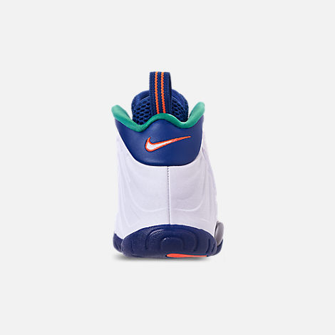 Back view of Boys' Grade School Nike Little Posite Pro Basketball Shoes in Gym Blue/White/Cone/Neptune Green