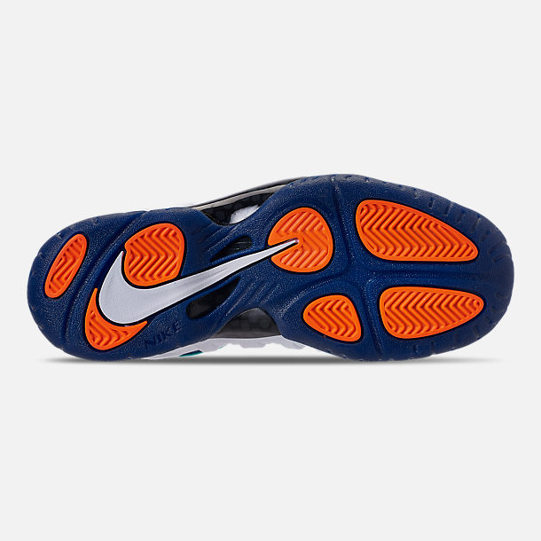 Bottom view of Boys' Grade School Nike Little Posite Pro Basketball Shoes in Gym Blue/White/Cone/Neptune Green