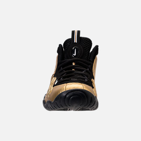 Front view of Boys' Grade School Nike Little Posite Pro Basketball Shoes in Metallic Gold/Black/White